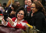 Marla Turner, with Emerge Nevada, takes a photo with Assemblywoman Dina Neal, D-Las Vegas, before opening day ceremonies at the Legislative Building in Carson City, Nev., on Monday, Feb. 2, 2015. (Cathleen Allison/Las Vegas Review-Journal)