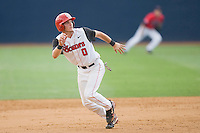 Matt Wessinger #0 of the St. John's Red Storm takes off for third base against the Ole Miss Rebels at the Charlottesville Regional of the 2010 College World Series at Davenport Field on June 6, 2010, in Charlottesville, Virginia.  The Red Storm defeated the Rebels 20-16.  Photo by Brian Westerholt / Four Seam Images