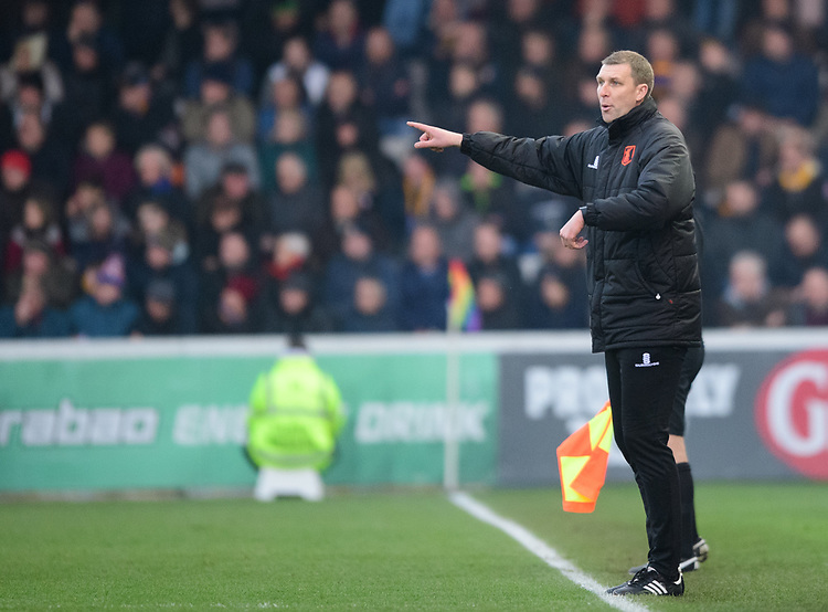 Mansfield Town's assistant manager Ben Futcher shouts instructions to his team from the technical area<br /> <br /> Photographer Chris Vaughan/CameraSport<br /> <br /> The EFL Sky Bet League Two - Lincoln City v Mansfield Town - Saturday 24th November 2018 - Sincil Bank - Lincoln<br /> <br /> World Copyright © 2018 CameraSport. All rights reserved. 43 Linden Ave. Countesthorpe. Leicester. England. LE8 5PG - Tel: +44 (0) 116 277 4147 - admin@camerasport.com - www.camerasport.com