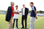 20 August 2014: USSF president Sunil Gulati (left), his son, USSF General Secretary Dan Flynn (second from right) and Carolina RailHawks president Curt Johnson (right). The United States Women's National Team played the Switzerland Women's National Team at WakeMed Stadium in Cary, North Carolina in an women's international friendly soccer game. The United States won the match 4-1.