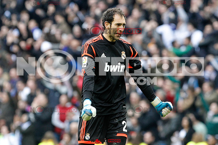 Real Madrid's Diego Lopez celebrates goal during La Liga match.March 02,2013. (ALTERPHOTOS/Acero) /NortePhoto