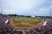 A general view of Veterans Memorial Stadium during a game between the Cedar Rapids Kernals and Kane County Cougars on June 8, 2013 in Cedar Rapids, Iowa. (Brace Hemmelgarn/Four Seam Images)