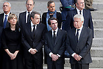 Former presidents Jose Luis Rodriguez Zapatero (L), Jose Maria Aznar (C) and Felipe Gonzalez attend former President Adolfo Suarez funeral chapel in Madrid, Spain. March 24, 2014. (ALTERPHOTOS/Victor Blanco)