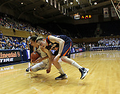 Haley Peters dives for a loose ball in the final minutes of the game. Duke woman's basketball beat Virginia 77-66 on Monday, January 2, 2012 at Cameron Indoor Stadium in Durham, NC. Photo by Al Drago.