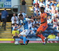Blackburn Rovers Darragh Lenihan in action with Cardiff City's Robert Glatzel<br /> <br /> Photographer Mick Walker/CameraSport<br /> <br /> The Premier League - Blackburn Rovers v Cardiff City - Saturday August 24th 2019 - Ewood Park - Blackburn<br /> <br /> World Copyright © 2019 CameraSport. All rights reserved. 43 Linden Ave. Countesthorpe. Leicester. England. LE8 5PG - Tel: +44 (0) 116 277 4147 - admin@camerasport.com - www.camerasport.com