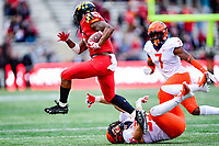 College Park, MD - OCT 27, 2018: Maryland Terrapins running back Anthony McFarland (5) refuses to be tackled by Illinois Fighting Illini linebacker Del'Shawn Phillips (3) during game between Maryland and Illinois at Capital One Field at Maryland Stadium in College Park, MD. The Terrapins defeated Illinois to move to 5-3 on the season. (Photo by Phil Peters/Media Images International)
