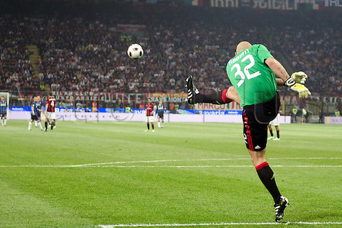 02.04.2011 Alexandre Pato scores two and Antonio Cassano converts a penalty against Inter in what could potentially be a title deciding result. Picture shows Christian Abbiati taking a goal kick.
