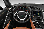 Car pictures of steering wheel view of a 2019 Chevrolet Corvette Stingray Coupe 2LT 3 Door Targa