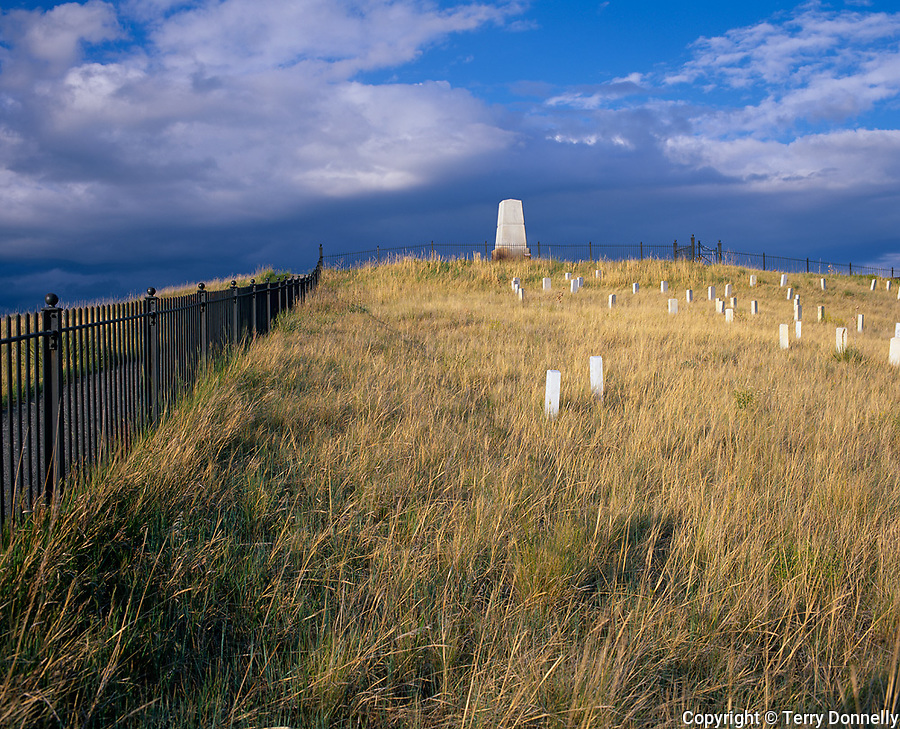 Little Bighorn Battlefield National Monument, MT<br /> Summer clouds clearing over Custer Hill