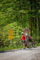 Deutschland, Bayern, bei Bergen (Chiemgau): Mountainbiker unterwegs zu den Almen in den Chiemgauer Alpen | Germany, Upper Bavaria, near Bergen (Chiemgau): mountainbiker heading for alpine pasture huts in the Chiemgau alps