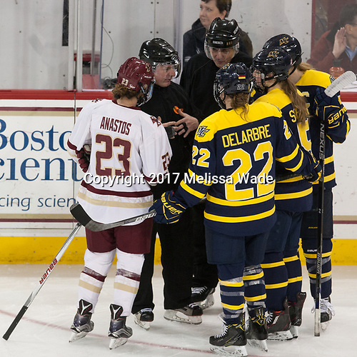 - The number one seeded Boston College Eagles defeated the eight seeded Merrimack College Warriors 1-0 to sweep their Hockey East quarterfinal series on Friday, February 24, 2017, at Kelley Rink in Conte Forum in Chestnut Hill, Massachusetts.The number one seeded Boston College Eagles defeated the eight seeded Merrimack College Warriors 1-0 to sweep their Hockey East quarterfinal series on Friday, February 24, 2017, at Kelley Rink in Conte Forum in Chestnut Hill, Massachusetts.
