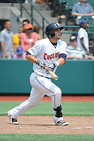 Brooklyn Cyclones catcher Tyler Moore (15) during game against the Williamsport Crosscutters at MCU Park on July 21, 2014 in Brooklyn, NY.  Brooklyn defeated Williamsport  5-2.  (Tomasso DeRosa/Four Seam Images)