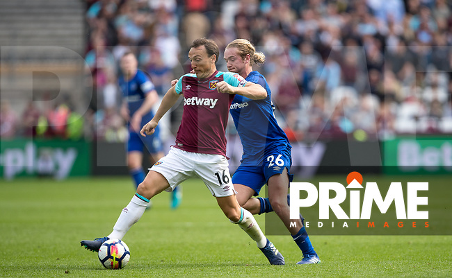 Mark Noble of West Ham & Tom Davies of Everton during the Premier League match between West Ham United and Everton at the Olympic Park, London, England on 13 May 2018. Photo by Andy Rowland / PRiME Media Images.
