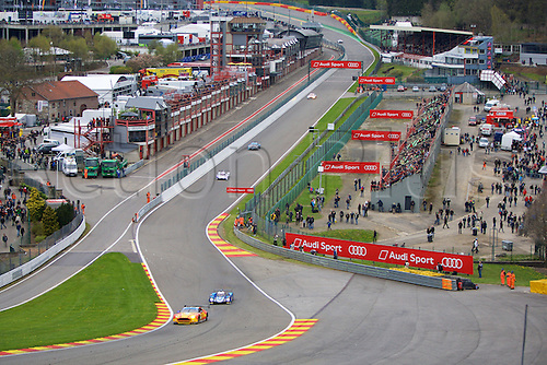 02.05.2015.  Spa-Francorchamps, Belgium. World Endurance Championship Round 2. Cars power into Eau Rouge corner.