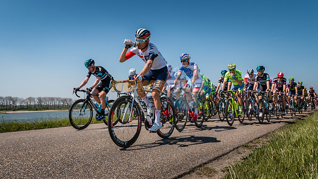 Front of the peloton on the Waaldijk at Gendt with 180 km to go, stage 3 from Nijmegen to Arnhem running 190 km of the 99th Giro d'Italia (UCI WorldTour), The Netherlands, 8 May 2016. Photo by Pim Nijland / PelotonPhotos.com | All photos usage must carry mandatory copyright credit (Peloton Photos | Pim Nijland)