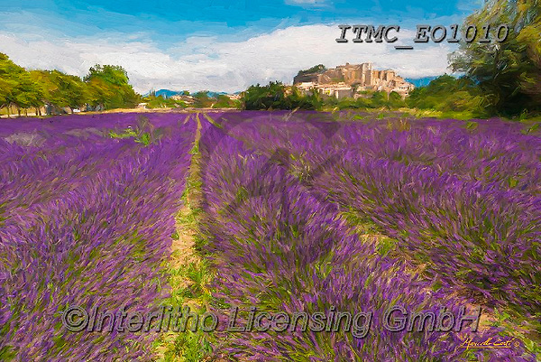 Marcello, LANDSCAPES, LANDSCHAFTEN, PAISAJES, paintings+++++,ITMCEO1010,#l#, EVERYDAY ,provence,lavender ,puzzles