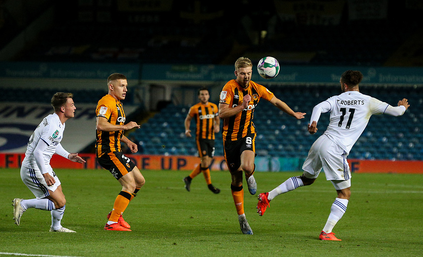 Leeds United's Tyler Roberts battles with Hull City's Daniel Batty<br /> <br /> Photographer Alex Dodd/CameraSport<br /> <br /> Carabao Cup Second Round Northern Section - Leeds United v Hull City -  Wednesday 16th September 2020 - Elland Road - Leeds<br />  <br /> World Copyright © 2020 CameraSport. All rights reserved. 43 Linden Ave. Countesthorpe. Leicester. England. LE8 5PG - Tel: +44 (0) 116 277 4147 - admin@camerasport.com - www.camerasport.com