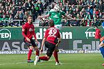 13.04.2019, Weser Stadion, Bremen, GER, 1.FBL, Werder Bremen vs SC Freiburg, <br /> <br /> DFL REGULATIONS PROHIBIT ANY USE OF PHOTOGRAPHS AS IMAGE SEQUENCES AND/OR QUASI-VIDEO.<br /> <br />  im Bild<br /> 1:0 kopfball Davy Klaassen (Werder Bremen #30)<br /> gegen Nico Schlotterbeck (SC Freiburg #49) Alexander Schwolow (SC Freiburg #01) tor <br /> <br /> <br /> Foto © nordphoto / Kokenge