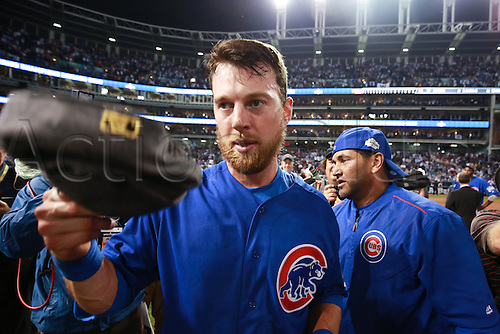02.11.2016. Cleveland, OH, USA.  Chicago Cubs second baseman Ben Zobrist (18) celebrates after winning game 7 of the 2016 World Series against the Chicago Cubs and the Cleveland Indians at Progressive Field in Cleveland, OH. Chicago defeated Cleveland 8-7 in 10 innings.