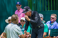 Tommy Fleetwood (ENG) and Gary Player (RSA) during the first round at the Nedbank Golf Challenge hosted by Gary Player,  Gary Player country Club, Sun City, Rustenburg, South Africa. 14/11/2019 <br /> Picture: Golffile | Tyrone Winfield<br /> <br /> <br /> All photo usage must carry mandatory copyright credit (© Golffile | Tyrone Winfield)