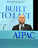 Washington, D.C. - June 2, 2008 -- United States Senator John McCain (Republican of Arizona), the presumptive 2008 Republican nominee for President of the United States, speaks at the American Israel Public Affairs Committee (AIPAC) annual Policy Conference in Washington, D.C. on Monday, June 2, 2008.  In his remarks, Senator McCain reaffirmed his solid support for the State of Israel..Credit: Ron Sachs / CNP