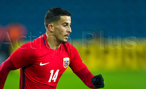29.03.2016  Ullevaal Stadion, Oslo, Norway. Omar Elabdellaoui of Norway  in action during the International Football Friendly match between Norway and Finland at  Ullevaal Stadion in Oslo, Norway.  Norway ran out 2-0 winners of the game.