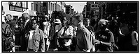 USA. NYC. 9/11/2001. Reaction from the crowd after the collapse of the first tower of the World Trade Center after terrorist attack. West Broadway and Canal Street, New York, September 11, 2001