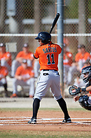 Miami Marlins Jhonny Santos (11) during a Minor League Spring Training Intrasquad game on March 27, 2018 at the Roger Dean Stadium Complex in Jupiter, Florida.  (Mike Janes/Four Seam Images)