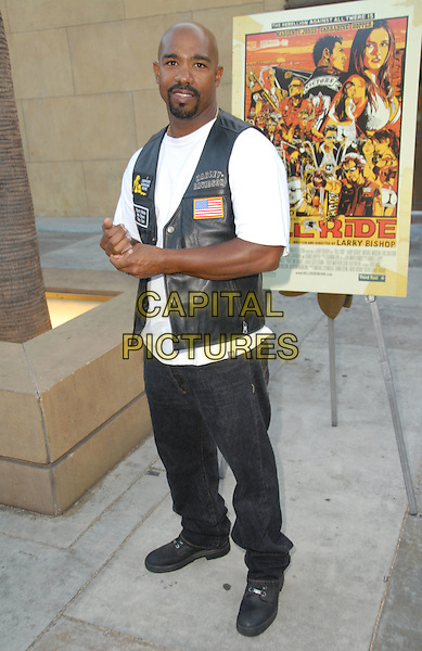 "MICHAEL BEACH.""Hell Ride"" Special Screening presented by the Weinstein Company held at The Egyptian Theater, Hollywood, California, USA, 31 July 2008..full length black leather waistcoat white t-shirt.CAP/ADM/FS.©Faye Sadou/Admedia/Capital Pictures"