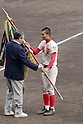 Tomoki Okazawa (),<br /> MARCH 31, 2016 - Baseball :<br /> Chiben Gakuen's captain Tomoki Okazawa receives the championship pennant during the closing ceremony after winning the 88th National High School Baseball Invitational Tournament final game between Takamatsu Shogyo 1-2 Chiben Gakuen at Koshien Stadium in Hyogo, Japan. (Photo by Katsuro Okazawa/AFLO)