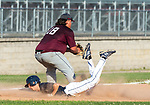 NAUGATUCK , CT-072920JS03—Bethel's (3) dives safely into third base as Naugatuck's Austin Verab (18) waits for the throw during their CT Elite Baseball Association's game Wednesday at Naugatuck High School. <br />  Jim Shannon Republican-American