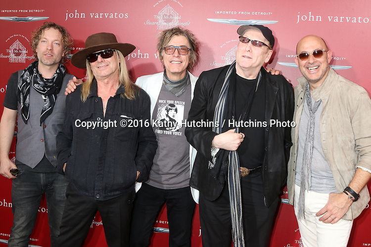 LAS VEGAS - APR 17:  Robin Zander, Tom Petersson, Rick Nielsen, Daxx Nielsen, John Varvatos at the John Varvatos 13th Annual Stuart House Benefit at the John Varvatos Store on April 17, 2016 in West Hollywood, CA