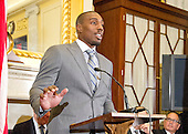 Phil Davis, former All American Wrestler & Bellator MMA fighter makes remarks at a press conference to discuss the observational study on the brain health of active and retired professional fighters on Capitol Hill in Washington, DC on Tuesday, April 26, 2016.  The study, led by researchers from the Cleveland Clinic, is  designed to better identify, prevent and treat Chronic Traumatic Encephalopathy (CTE.)<br /> Credit: Ron Sachs / CNP