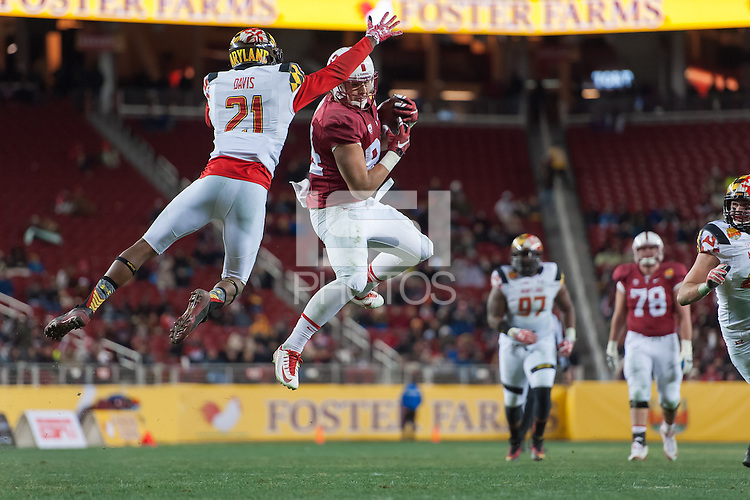 SANTA CLARA, CA - DECEMBER 30, 2014:  Austin Hooper during Stanford's game against Maryland in the 2014 Foster Farms Bowl. The Cardinal defeated the Terrapins 45-21.