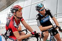 Philippe Gilbert (l) and Ben Swift before the stage of La Vuelta 2012 beetwen Santander-Fuente De.September 5,2012. (ALTERPHOTOS/Acero) /NortePhoto.com<br /> <br /> **CREDITO*OBLIGATORIO** *No*Venta*A*Terceros*<br /> *No*Sale*So*third* ***No*Se*Permite*Hacer Archivo***No*Sale*So*third