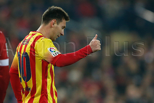 11.01.2014 Madrid, Spain. Atletico de Madrid versus F.C. Barcelona at Vicente Calderon stadium.   Lionel Andres Messi (Argentine forward of Barcelona)