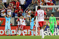 Harrison, NJ - Thursday Sept. 15, 2016: Sacha Kljestan celebrates scoring during a CONCACAF Champions League match between the New York Red Bulls and Alianza FC at Red Bull Arena.