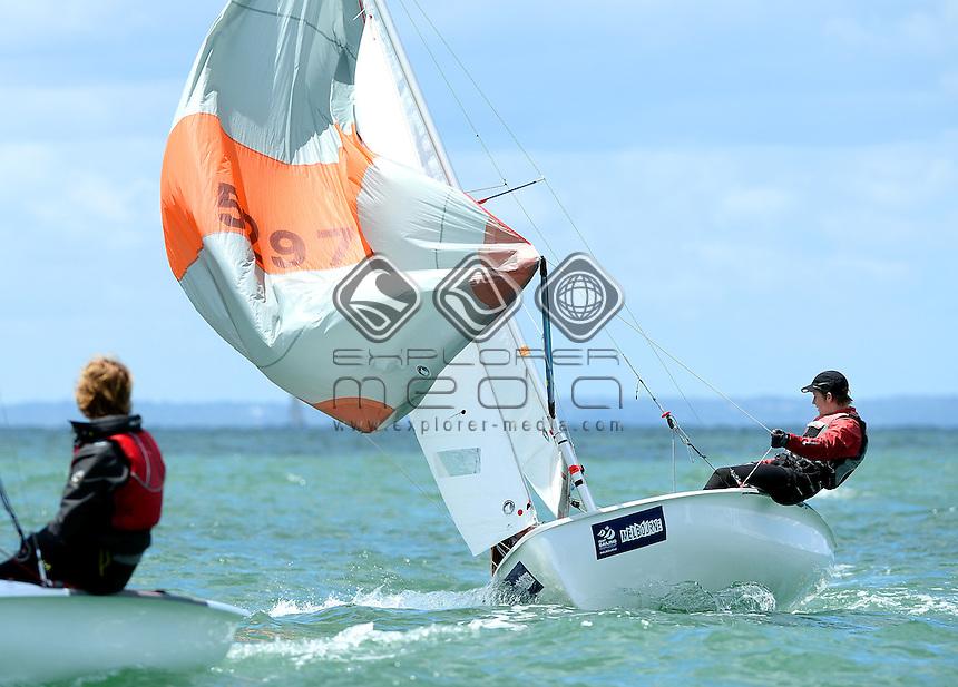 420 / Nicci EDWARDS &amp; Patrick ROYLE (AUS)<br /> 2013 ISAF Sailing World Cup - Melbourne<br /> Sail Melbourne - The Asia Pacific Regatta<br /> Sandringham Yacht Club, Victoria<br /> December 1st - 8th 2013<br /> &copy; Sport the library / Jeff Crow