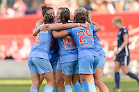 Bridgeview, IL - Sunday May 29, 2016: Chicago Red Stars forward Sofia Huerta (11) celebrates scoring with teammates during a regular season National Women's Soccer League (NWSL) match at Toyota Park.