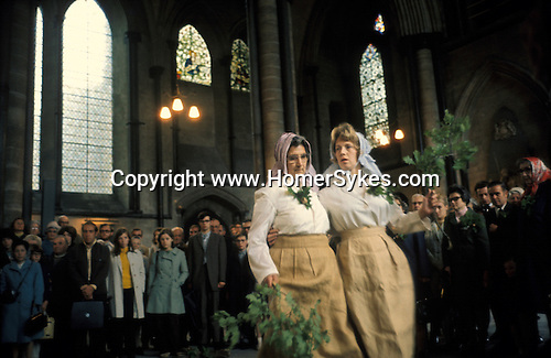 Grovely Forest Rights, Oak Apple Day May 29th. Women dance in Salisbury Cathedral. 1970s.