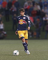 New York Red Bulls midfielder Juninho (8) controls the ball at midfield.  2013 Lamar Hunt U.S Open Cup fourth round, New England Revolution (white) defeated New York Red Bulls (blue/yellow), 4-2, at Harvard University's Soldiers Field Soccer Stadium on June 12, 2013.