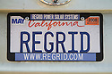 A close up of 'REGRID' (Regrid Power) license plate. Regrid Power designs and installs solar power systems. Palo Alto, California, USA