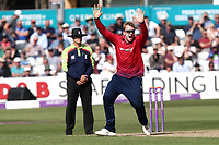 Simon Harmer of Essex celebrates taking the wicket of Jack Leaning during Essex Eagles vs Yorkshire Vikings, Royal London One-Day Cup Play-Off Cricket at The Cloudfm County Ground on 14th June 2018
