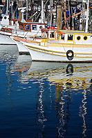 Fishing boats anchored at Fishermans Wharf, San Francisco, California....Fishing boats anchored at Fishermans Wharf, San Francisco, California