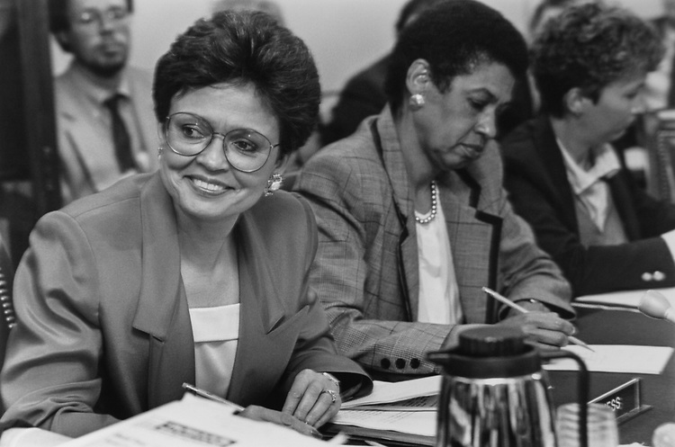 Mayor Sharon Pratt Kelly, D-D.C., with Delegate Rep. Eleanor Holmes Norton, D-D.C. on Feb. 20, 1992. (Photo by Laura Patterson/CQ Roll Call via Getty Images)