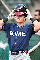 Left fielder Garrison Schwartz (4) of the Rome Braves during batting practice before a game against the Greenville Drive on Friday, April 13, 2018, at Fluor Field at the West End in Greenville, South Carolina. Rome won, 10-6. (Tom Priddy/Four Seam Images)