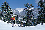 Woman mtn biking through spring snow above Estes Park, CO