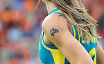 The Hague, Netherlands, June 14: Flag of the Australian continent painted on the upper arm of Anna Flanagan #9 of Australia during the field hockey gold medal match (Women) between Australia and The Netherlands on June 14, 2014 during the World Cup 2014 at Kyocera Stadium in The Hague, Netherlands. Final score 2-0 (2-0)  (Photo by Dirk Markgraf / www.265-images.com) *** Local caption ***