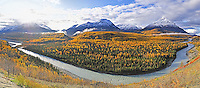 The fall sun rises over the Matanuska River valley just upstream from its confluence with the Chickaloon River, about 80 miles north of Anchorage Alaska.