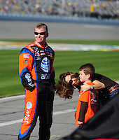 Feb 10, 2008; Daytona Beach, FL, USA; Nascar Sprint Cup Series driver Jeff Burton with his family during qualifying for the Daytona 500 at Daytona International Speedway. Mandatory Credit: Mark J. Rebilas-US PRESSWIRE